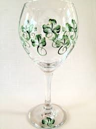 wine glass with shamrock